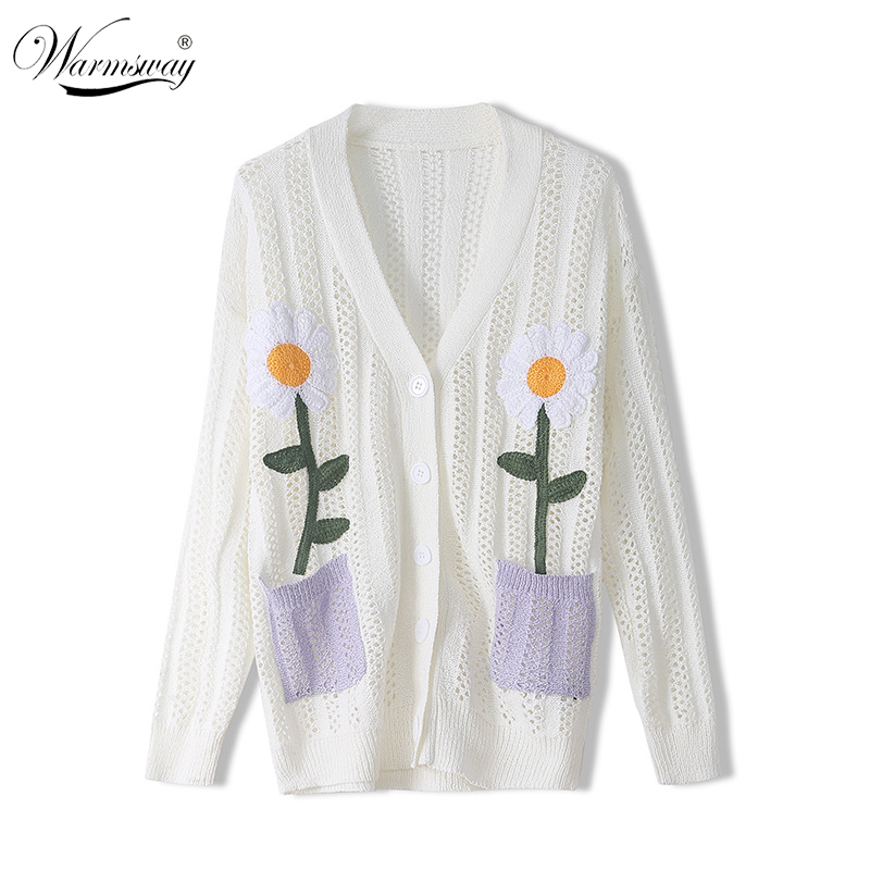 Runway Sweater Summer New Thin Women Loose Hollow Embroidered Flower Pocket White Black Long-sleeved Knitted Cardigan CY-165