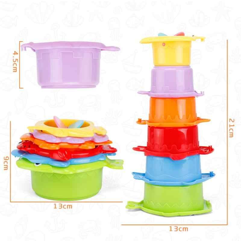 6 шт. штабелирование чашек игрушки красочные милые забавные пластиковые игрушки для ванной Развивающие игрушки для малышей