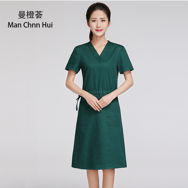 Lady Green Medical Gown Healthcare Hospital Gowns Medical Scrub Coat Nurse Robe Overlap Side Tie  Cotton Surgical Uniform