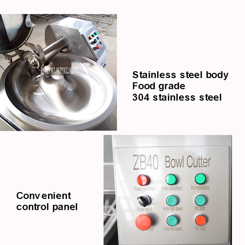 ZB-40 40L Electric Meat Beef Mincing Grinding Machine Frequency Conversion Commercial Automatic Meat Grinder Mixer 5.1kw 380V 10