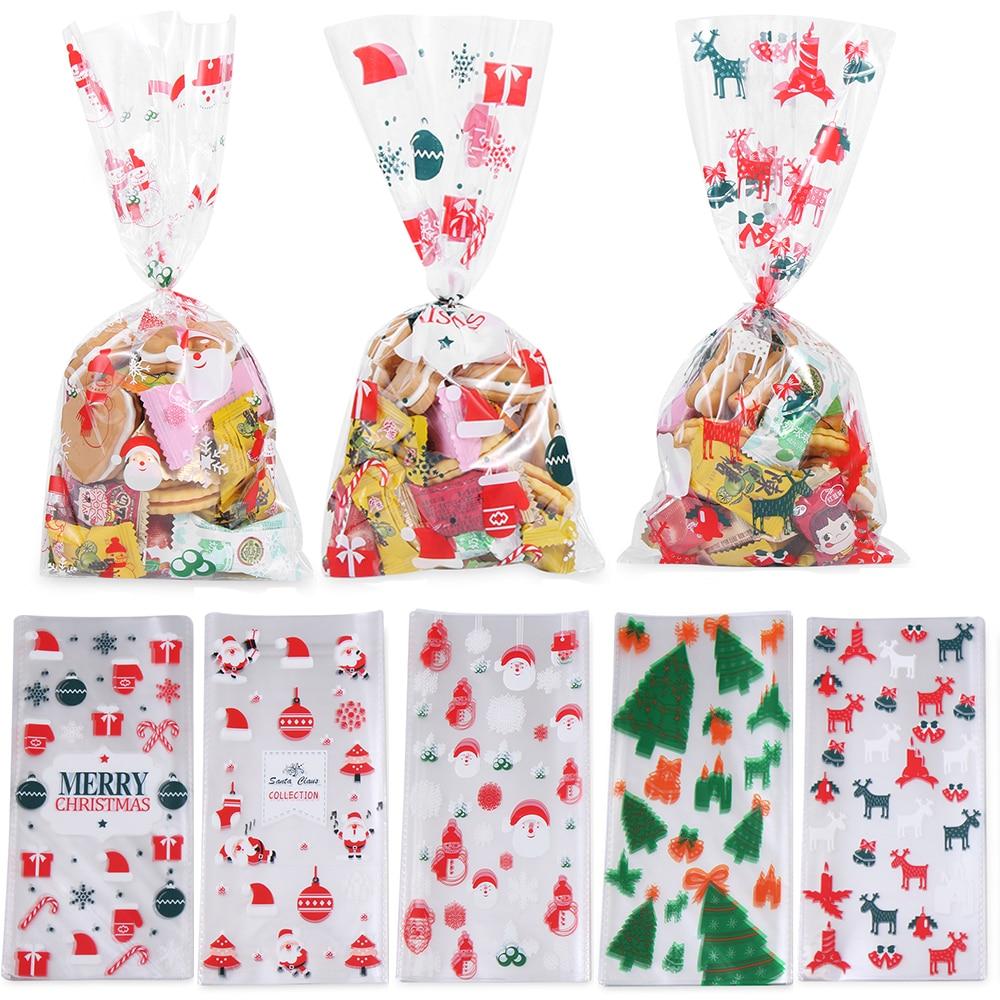 50 шт рождественские пакеты для печенья, рождественская целлофан вечеринка, сумки для конфет, праздничная вечеринка, подарок на рождество
