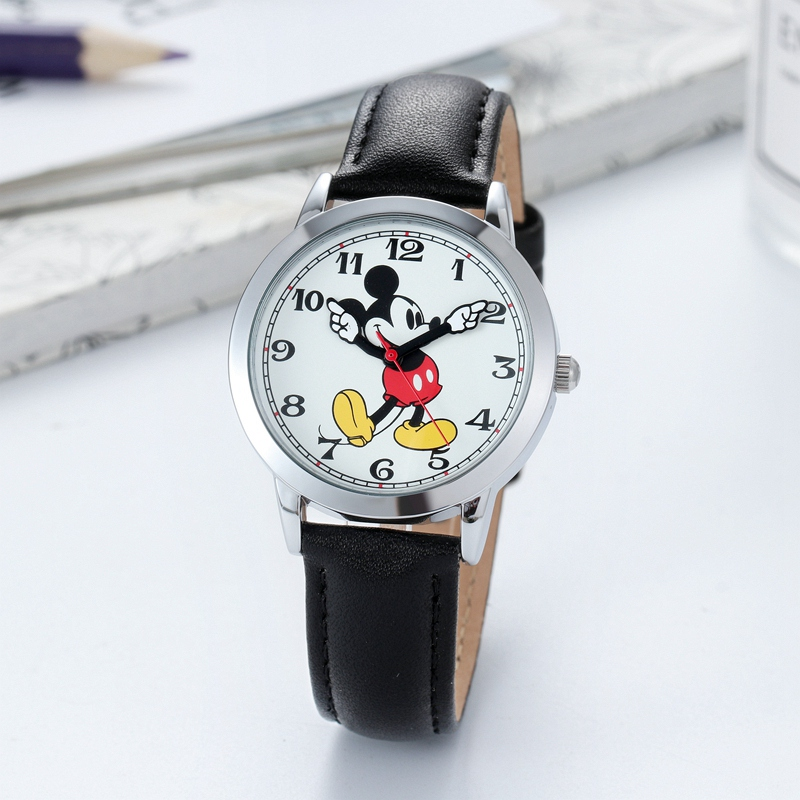 Image 4 - Original Disney Women Quartz Round Watch Authentic Mickey Mouse Cutie Love Fashion Clock Ladies Leather Band Watches Best Gift-in Women's Watches from Watches