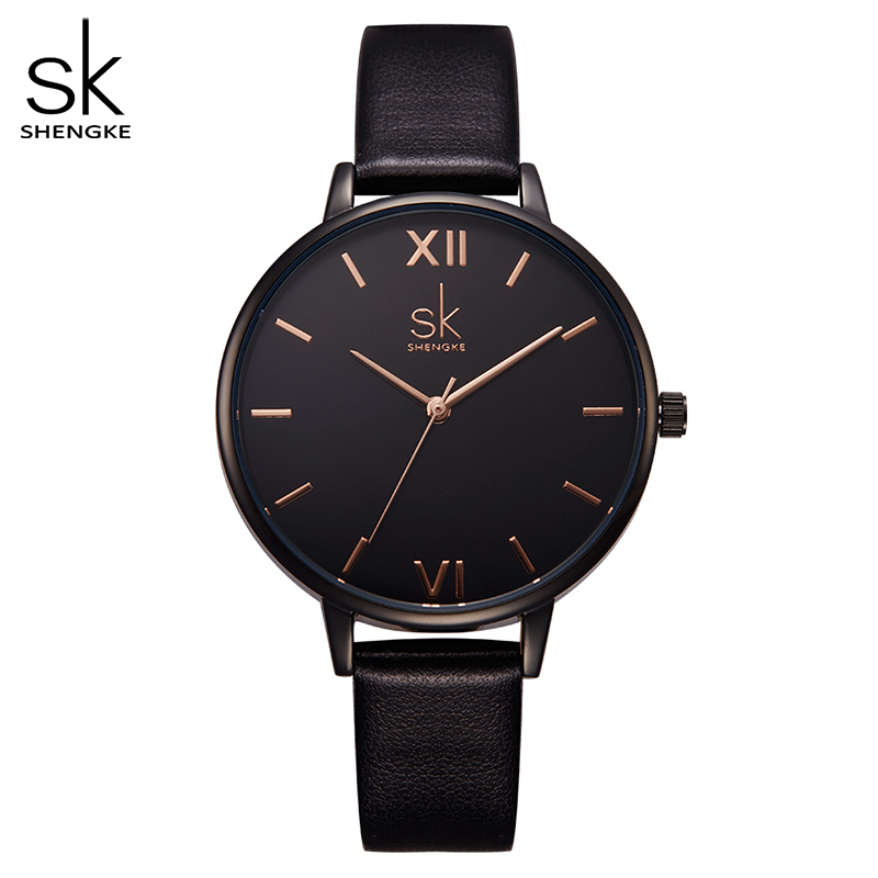 Shengke Women Watches Causal Women Leather Watch Mixmatch Ladies Watch Black Leather Strap Wristwatch 4 Colors Montre Femme SK| | |  - title=