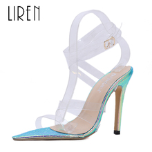 Liren 2019 Summer Fashion Sexy Cross-tied Buckle Transparent Lady Sandals Open Pointed Toe High Thin Heels Women Shoes