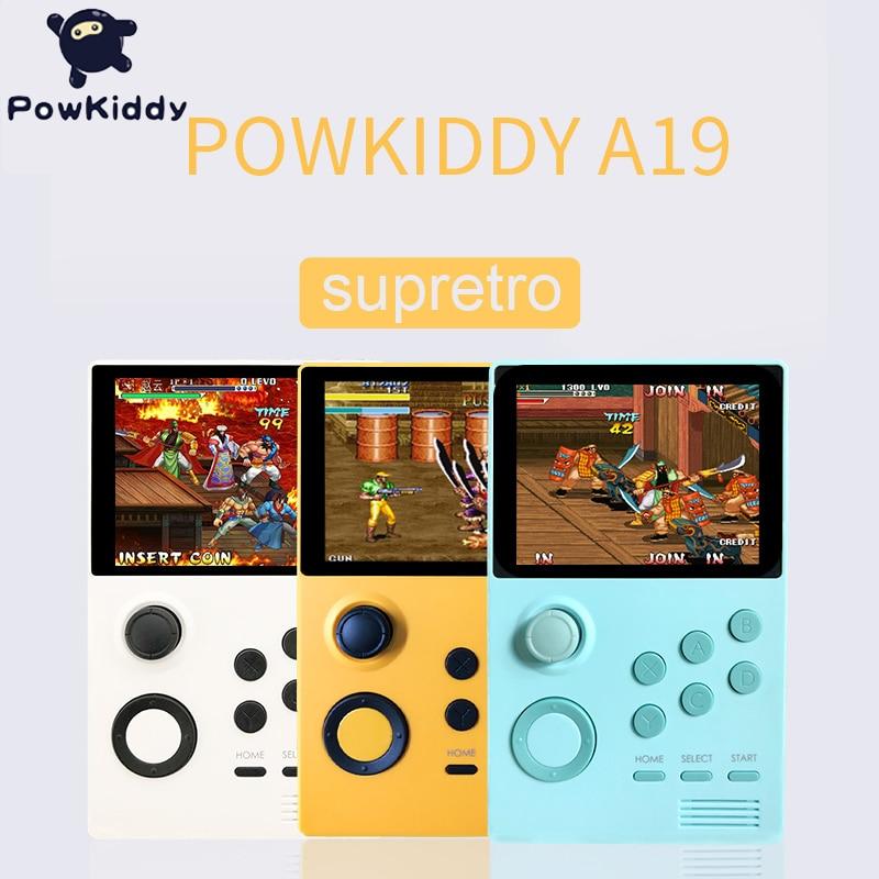 POWKIDDY A19 caja de Pandora Android Supremo consola de juegos de mano pantalla IPS incorporada 3000 + juegos 30 3D nuevos juegos WiFi descarga