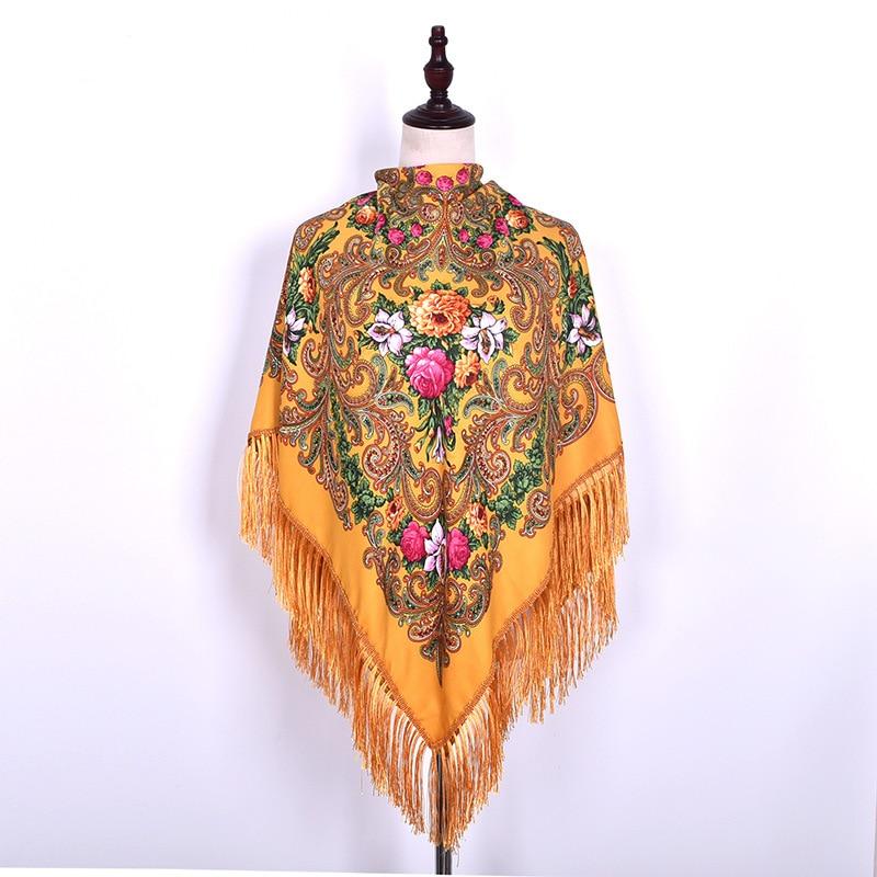 Luxury Printing Oversize Square Blankets Russian Women Wedding Scarf Retro Style Cotton Handkerchief Autumn Shawl 140*140cm