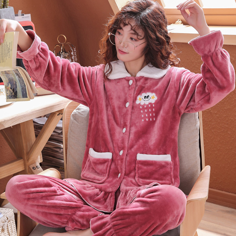 Plus Size 3XL 4XL 5XL Pajamas for women 2019 Winter Thicken Flannel pyjamas Long-sleeve lovely Sleepwear Coral Fleece Nightgowns 141