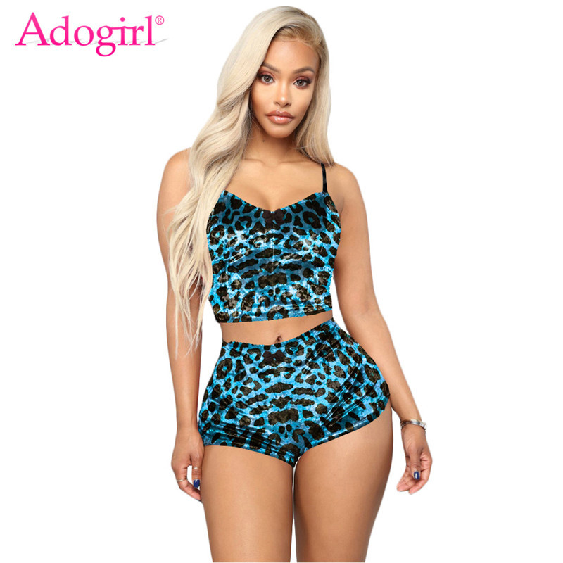 Adogirl Women Casual Leopard Print Velvet Two Piece Set  XS-XXL Spaghetti Straps Crop Top Shorts Female Tracksuit Clubwear