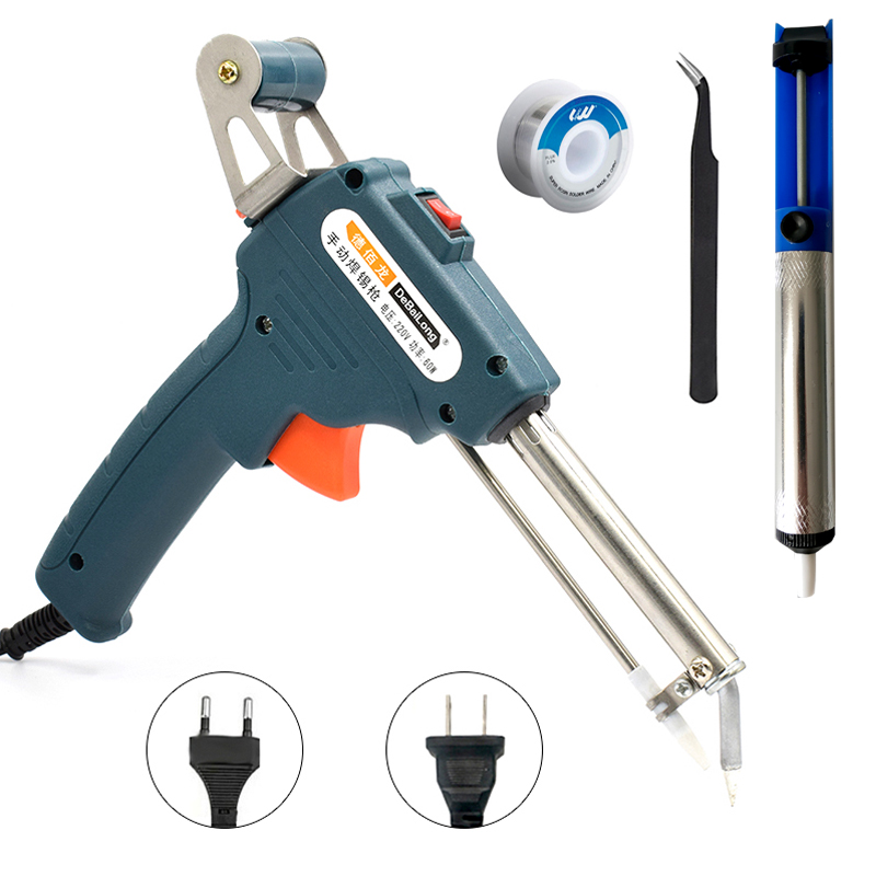 60W Electric Soldering Iron Automatic Feeding Tin Gun Solder Station Soldering Iron Tip Tweezers Welding Wire Repair Tool 110V 2