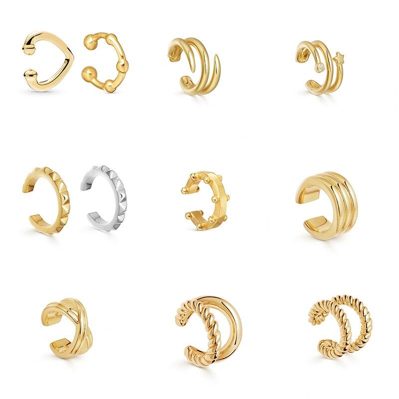 Clipe de orelha de metal de metal de ouro do punk para as mulheres sem perfurado c forma geométrica pequeno earcuff orelha envoltório earcuff clipes jóias