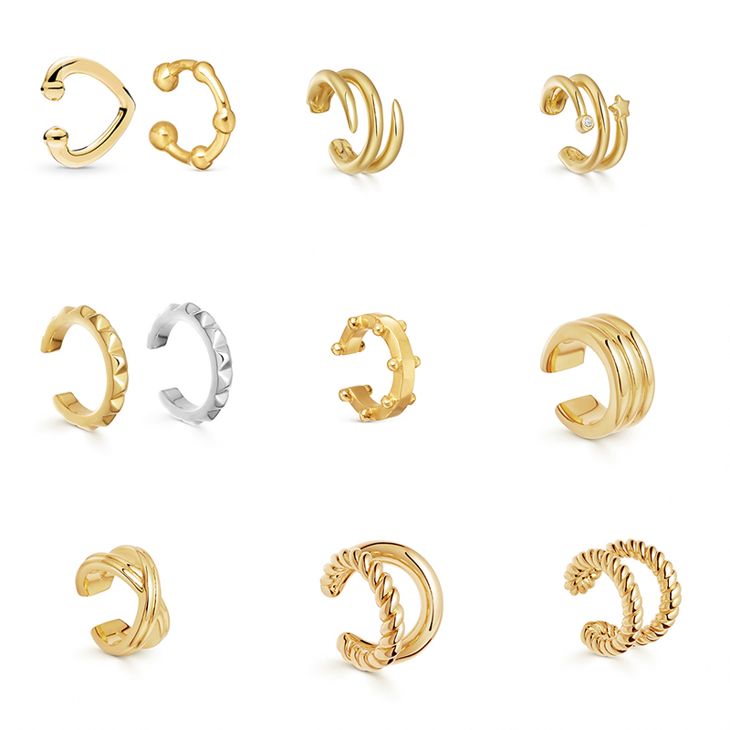 Золотистые металлические клипсы для ушей в стиле панк, клипса для хряща уха для женщин, не проколотые С-образные геометрические маленькие у...