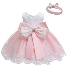 Комплект из 2 предметов, кружевное рождественское платье для девочек+ волосы, вечерние платья-торты на крестины для маленьких девочек, платье на день рождения для маленьких девочек 1 год
