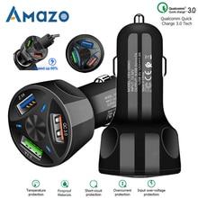QC3.0 USB Car Charger LED Light 12 24V Cigarette Socket Lighter Power Adapter Fast Charging Car Charger For Iphone Samsung Phone