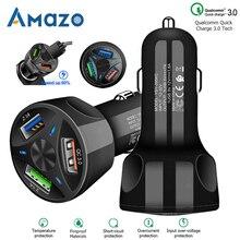 QC3.0 chargeur USB pour voiture avec lampe LED, adaptateur secteur 12 24V pour cigare, charge rapide, téléphone Iphone et Samsung