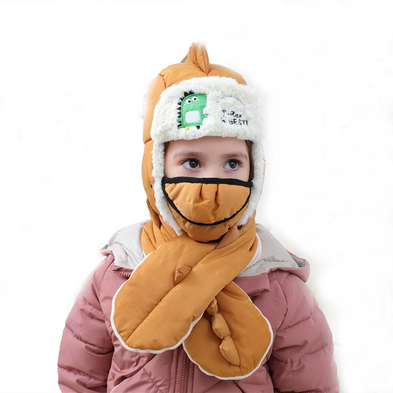 Doitbest 3 To 10 Years Old Kids Beanie Dinosaur Kid Boys Warm Hats Winter 2 Pcs Fur Baby Girls Winter Hat Mask Scarf Set