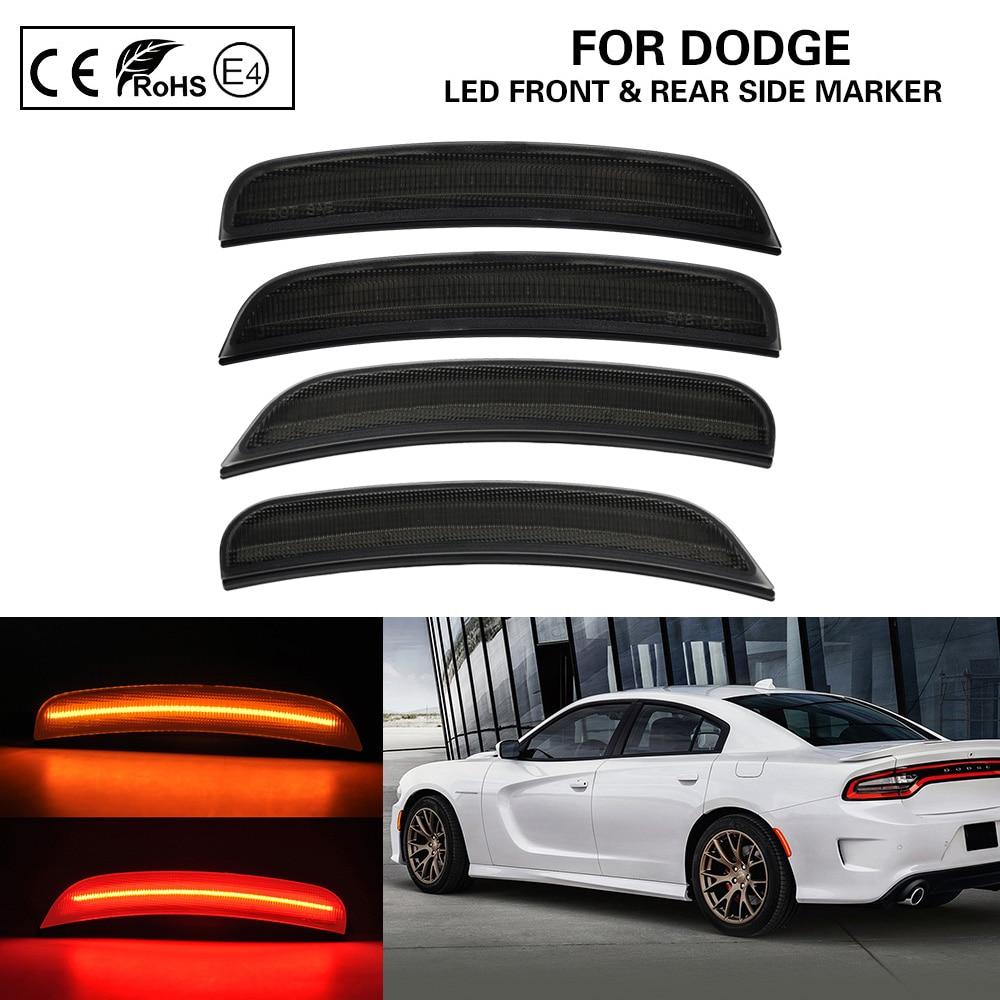 For Dodge Charger 2015-2019 4PCS Smoke Lens Front+Rear LED Side Marker Lights Amber Red US Version