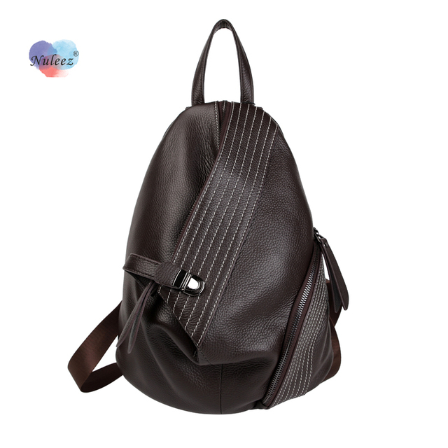 Nuleez big backpack unisex large travelling bag genuine leather prevention of thievery backpack with lock 959#