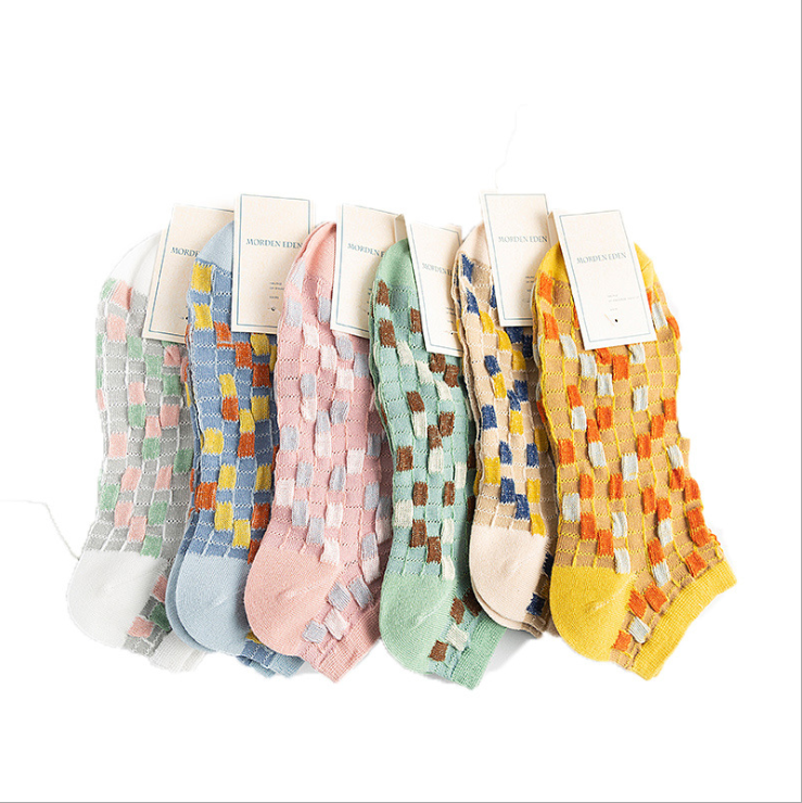 ถุงเท้าผู้หญิงรูปแบบการระเบิดใหม่ญี่ปุ่นตรวจสอบสีเรือถุงเท้าผู้หญิงถุงเท้าผู้หญิงถุงเท้าผ้าฝ้าย