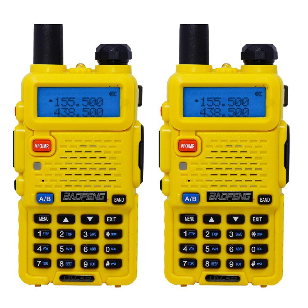 2 шт. Baofeng BF-UV5R Любительское радио портативная рация Pofung UV-5R 5 Вт VHF/UHF радио двухдиапазонное двухстороннее радио UV 5r CB радио - Цвет: Цвет: желтый