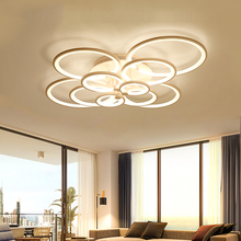 Black Remote Control chandelier Ceiling Lamp For Living room Bedroom staircase Ring Rond Chandelier Acrylic Lampshade