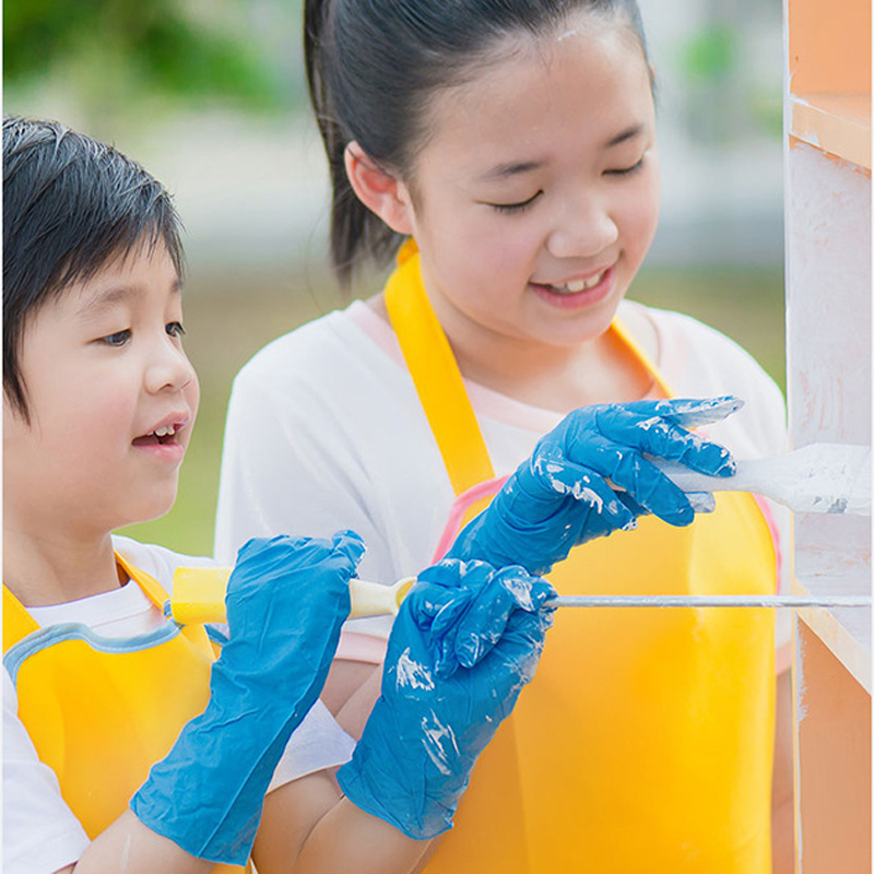 100pcs  Sanitary Drawing Protective Cleaning Gloves Dustproof Waterproof Gloves Children Disposable Gloves Elastic Latex