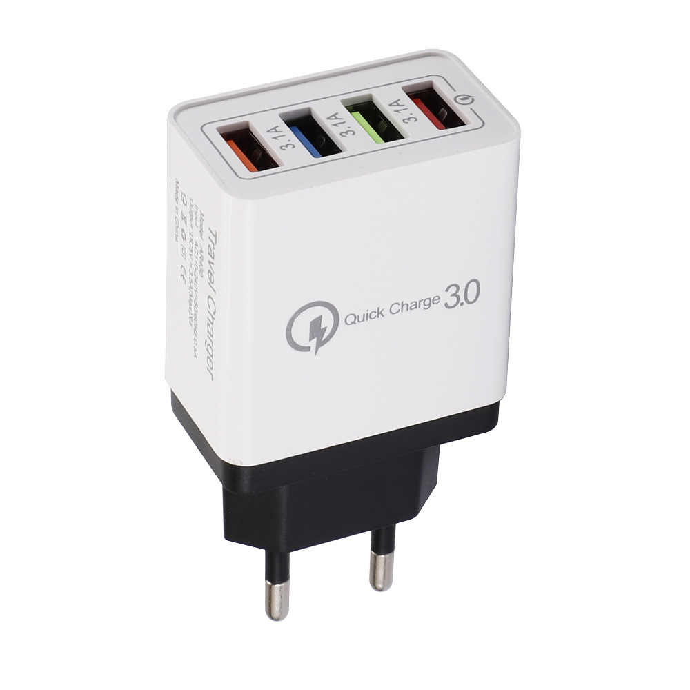 4USB 充電器 3A 携帯電話タブレット旅行コンパクトポータブル充電ヘッド米国規制ヨーロッパ旅行充電器