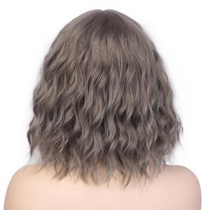 Image 3 - AISI יופי 12Bob פאה סינטטי פאת נשים של מים גלי פאות עם פוני חום שחור סגול טבעי שיער פאה יומי קוספליי פאות