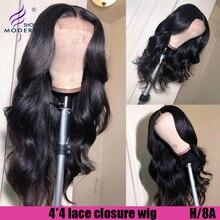 Современное шоу объемная волна 4*4 закрытие шнурка парики для черных женщин высокое радио Remy малазийские предварительно собранные человеческие волосы с детскими волосами