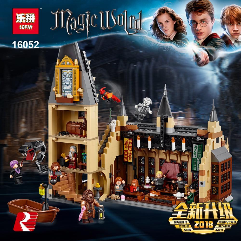 For Lepins Blocks Magic Harri School Set Hogwarts Great Hall Ron McGonagall Model Building Blocks Castle Hall Blocks Toys 75954