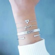 The New European And American Fashion Heart-shaped Rhinestone Bracelet Simple Temperament Alloy Atmosphere Bracelet цена 2017