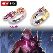 LOL Xayah and Rakan Ring S925 Sterling Silver Couple Rings League of Game Peripherals Legends Lovers