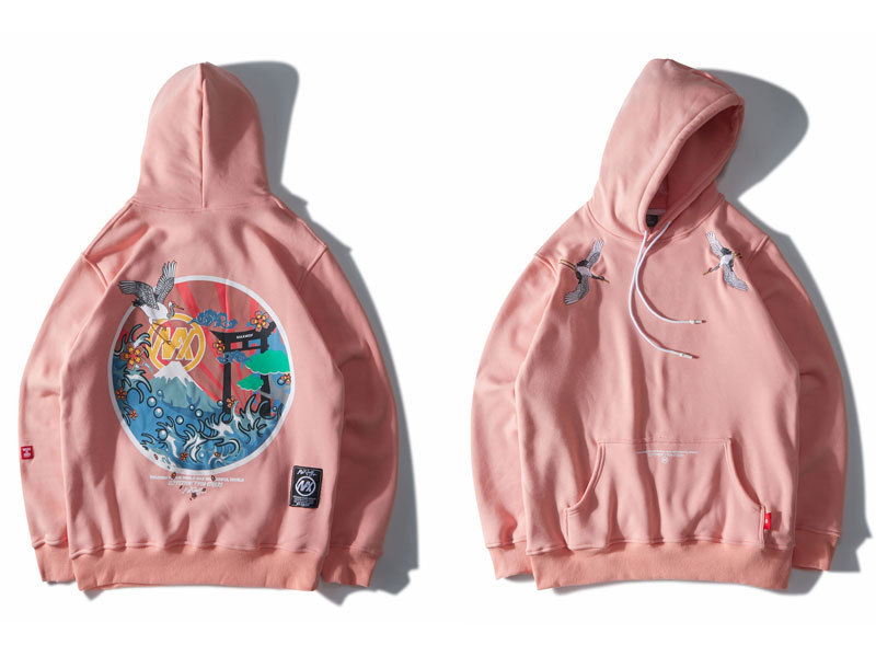 2019 Hip Hop Oversize Casual pulóver sudadera rosa Naby azul pareja Harajuku bordado grullas polar Hoodies Streetwear hombres - 4