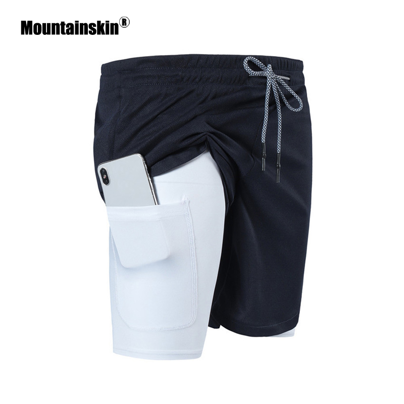 Mountainskin New Summer Men's Shorts Gym Fitness Bodybuilding Breathable Joggers Shorts Mens 2 In 1 Short Pant Male SA888