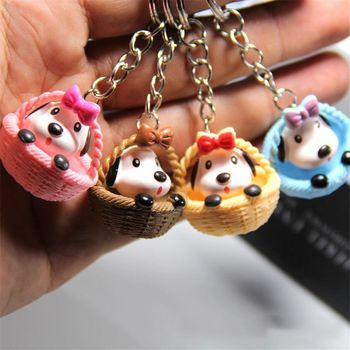 Hot new 1 pcs Random color unisex Cute Practical Cartoon Creative Basket Puppy Dog Keychain Pendant Small Gift
