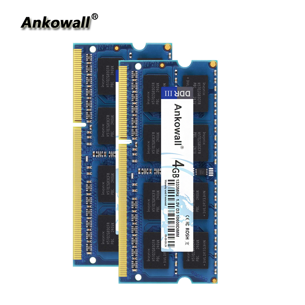 Ankowall <font><b>DDR3</b></font> 1333Mhz 8GB Kit (2 x 4GB) 4GB RAM 1333 MHz SODIMM Notebook Memory <font><b>PC3</b></font>-<font><b>10600</b></font> Laptop RAM image