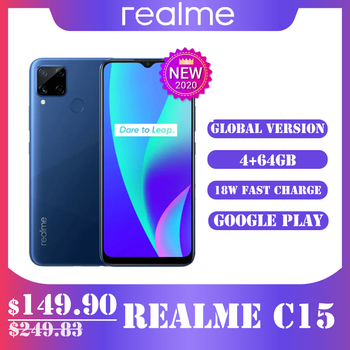 Перейти на Алиэкспресс и купить Realme C15, глобальная версия, 4 ГБ, 64 ГБ, 6000 мАч, аккумулятор, 13 МП, четыре камеры, 6,5 дюймов, полноэкранный, 3 слота для карт, Helico G35, Восьмиядерный, мо...
