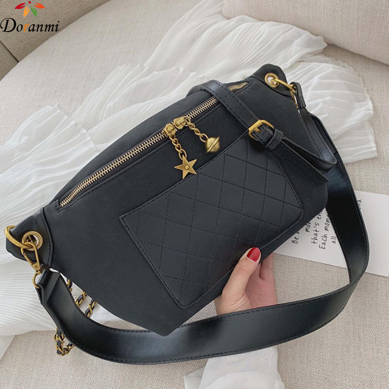 DORANMI Diamond Lattice Fanny Pack Leather Women's Waist Bag 2019 Luxury Brand Designed Belt Bags Female Crossbody Belt Bag G290
