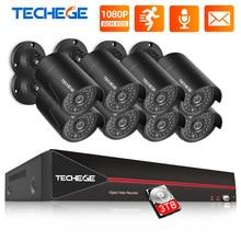 Techege H.265 8CH 1080P HDMI POE NVR ערכת אבטחת CCTV מערכת 2.0MP IR חיצוני אודיו שיא IP מצלמה P2P וידאו מעקב סט