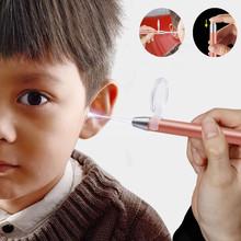 Łopatka do uszu wosku z uszu Cleaner usuwanie latarka Earpick czyszczenie uszu usuwanie woskowiny Luminous Ear Curette oświetlone uszy pinceta L1011 tanie tanio CN (pochodzenie) 17 8*1CM Metal + Silicone Ear Spoon So people 1 Light ear pick 1 magnifier Ear Care Lighted Ear Spoon Ear Tweezers Tool Set