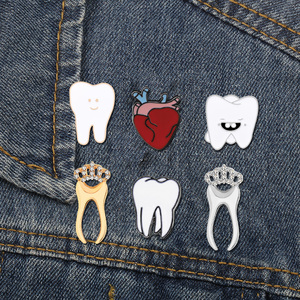 Teeth Enamel Pins Gold Silver Color Tooth Anatomy Heart Badge Docter Nurse Dentist Jackets Lapel Brooches Organ Medical Jewelry(China)