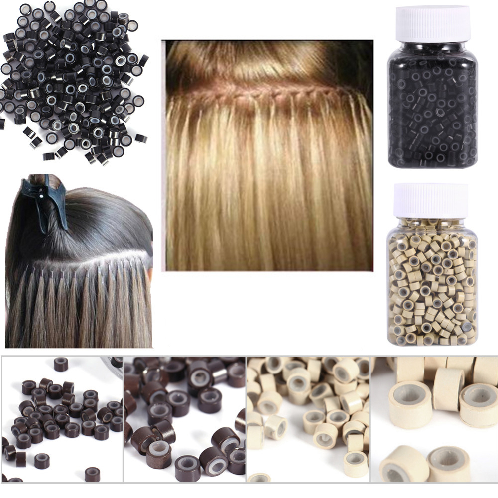 Micro Nano Rings 4.0mm Links Beads Silicone For Hair Extensions 500Pcs/Bottle New