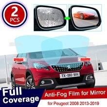 Para peugeot 2008 2013 ~ 2019 capa completa anti nevoeiro filme espelho retrovisor à prova de chuva claro anti-nevoeiro filmes acessórios do carro 2018 2017