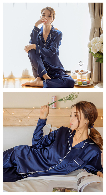 Women's Long Sleeved Plain Pajamas