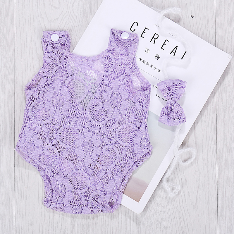 Lace Baby Rompers Newborn Infant Photography Clothes With Bow Headband Bebe Girls Photo Clothing Jumpsuit Costumes   Happy Baby Mama