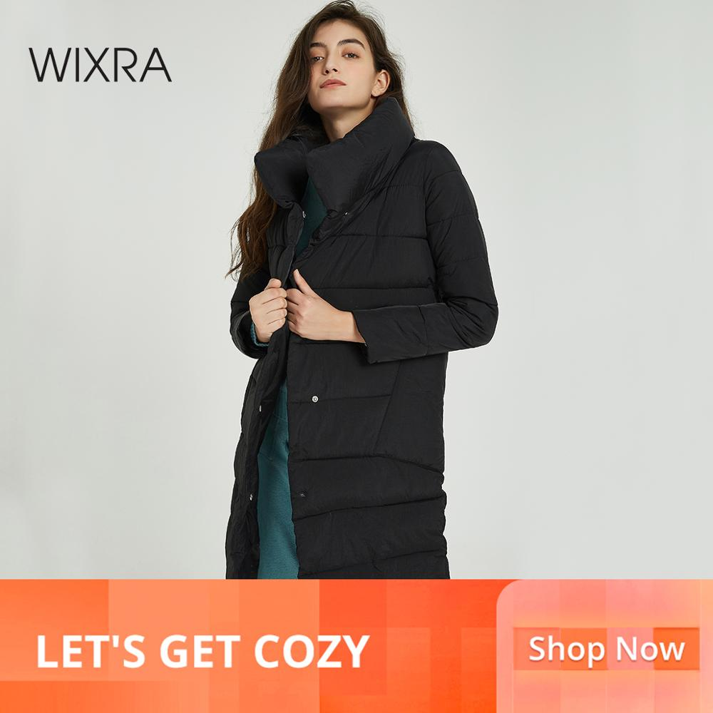 Wixra Women Winter Long Coat   Parka   Cotton Solid Stand Collar Warm New Ladies Coats Womens All Base Match Outwear