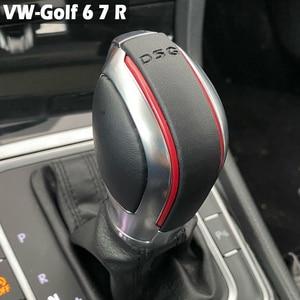 Image 1 - Car Red/Blue Gear Shift Knob Lever Stick Chrome Matt For Volkswagen VW Golf 7 DSG Cover Emblem
