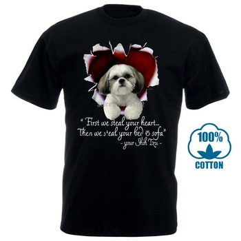 цена на Men T Shirtfirst We Steal Your Heart Then We Steal Your Bed & Sofa Your Shih Tzu Black Version Women T-Shirt