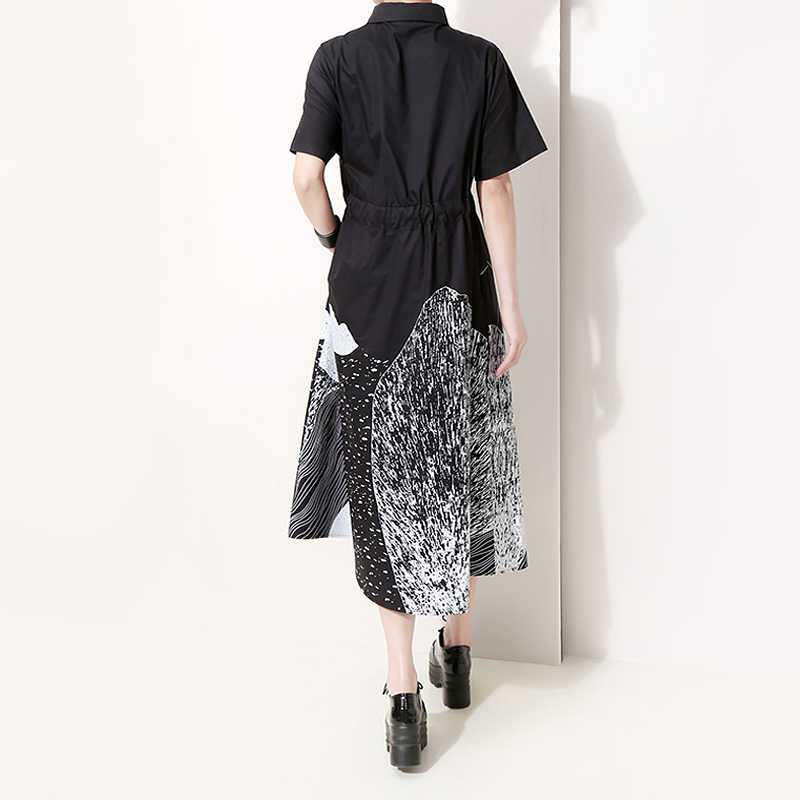 Vestido coreano para mulheres, novo 2020, verão, pintura preta, vestido longo, com estampa de faixa, tamanho grande, feminino, casual, retrô robe 5128,