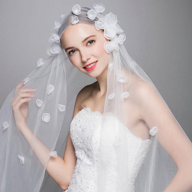 1.5x2M One-Layer Women Tulle Fingertip Short Wedding Veil Handmade 3D Butterfly Flower Petals Geometric Thin Sheer Bridal Veil
