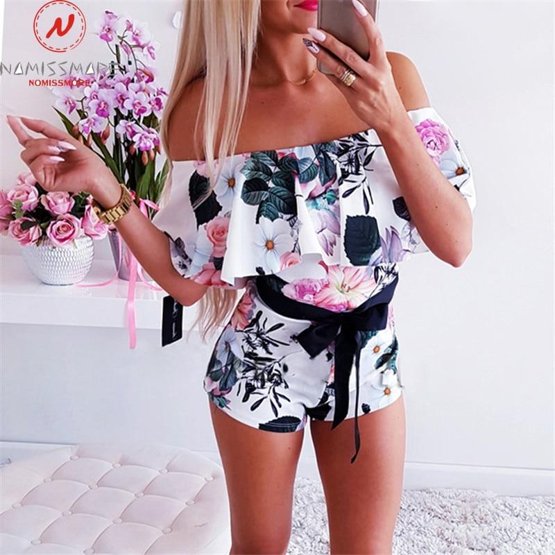 Women Playsuits For Streetwear Patchwork Design Belt Decor One Neck Off Shoulder Short Sleeve Print Summer Slim Jumpsuits